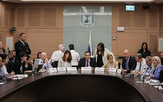Likud MK and chairman of the Regulatory Committee, Miki Zohar (C), leads a discussion on the Security Cameras Law, ahead of the upcoming elections, at the Knesset on September 9, 2019. (Yonatan Sindel/FLASH90)