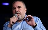 Yisrael Beytenu party head Avigdor Liberman speaks during an event in Givatayim, on September 13, 2019. (Tomer Neuberg/Flash90)