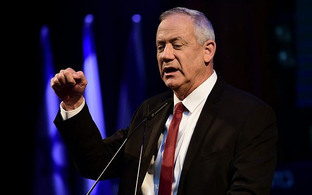 Blue and White party leader Benny Gantz speaks at a campaign rally in Tel Aviv on September 15, 2019. (Tomer Neuberg/Flash90)