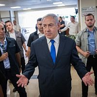 Prime Minister Benjamin Netanyahu gives a press statement in the Knesset on September 15, 2019. (Yonatan Sindel/Flash90)