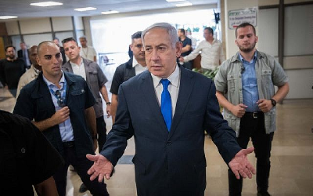 Prime Minister Benjamin Netanyahu gives a press statement in the Knesset on September 15, 2019. (Yonatan Sindel/Flash90)