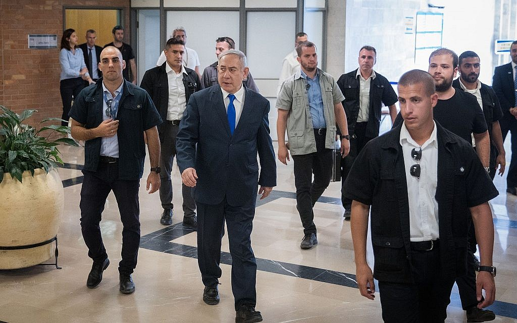 Prime Minister Benjamin Netanyahu walks in the Knesset on September 15, 2019, two days before elections. (Yonatan Sindel/Flash90)