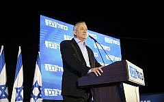 Blue and White Party chairman MK Benny Gantz speaks at an event in Kfar Ahim, a day before the elections, on September 16, 2019. (Flash90)