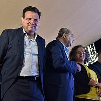 Head of the Joint List party MK Ayman Odeh reacts as the first results in the Knesset elections are announced, September 17, 2019. (Basel Awidat/FLASH90)