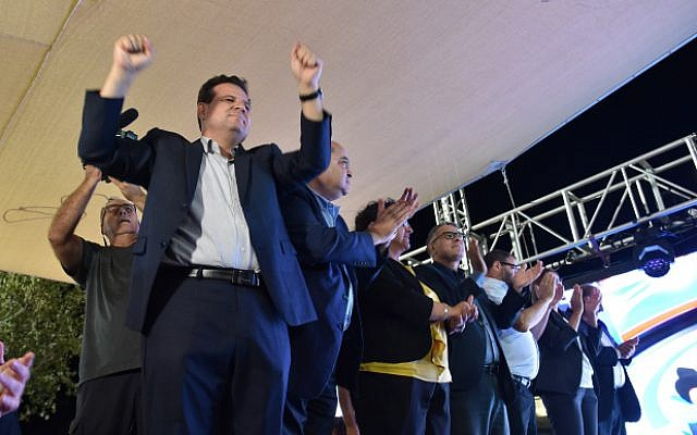Head of the Joint List party Ayman Odeh reacts as first exit polls in the general election are announced, September 17, 2019. (Basel Awidat/FLASH90)