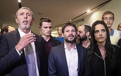 Yamina party chairwoman Ayelet Shaked, right, with party members Transportation Minister Bezalel Smotrich, center, and Education Minister Rafi Peretz at the Yamina party headquarters on election night in Ramat Gan, September 17, 2019. Photo by Flash90