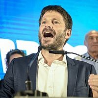 Yamina party member and Transportation Minister  Bezalel Smotrich speaks at the Yamina party headquarters on election night in Ramat Gan, on September 17, 2019. (Flash90)
