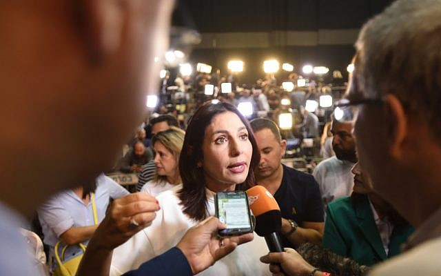 Culture Minister Miri Regev with supporters of the Likud party soon after the publication of TV exit polls in the Israeli general elections, at party headquarters in Tel Aviv, on September 17, 2019. (Gili Yaari /Flash90)