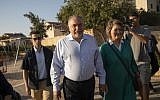 Israel Beytenu party chairman Avigdor Liberman and his wife cast their ballot at a voting station in the settlement of Nokdim, during the Knesset elections on September 17, 2019. (Hadas Parush/Flash90)