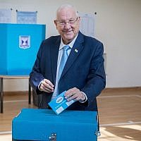 President Reuven Rivlin casts his ballot at a voting station in Jerusalem, during the Knesset Elections, on September 17, 2019. (Yonatan Sindel/Flash90)