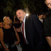 Yisrael Beytenu party leader Avigdor Liberman arrives at his party's headquarters in Jerusalem on election night, September 17, 2019. (Yonatan Sindel/FLASH90)