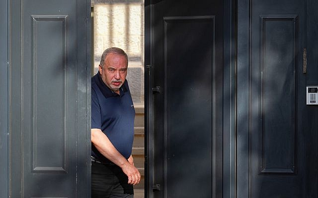 Yisrael Beytenu party leader Avigdor Lieberman speaks to the media outside his home in the West Bank settlement of Nokdim on September 18, 2019. (Flash90)