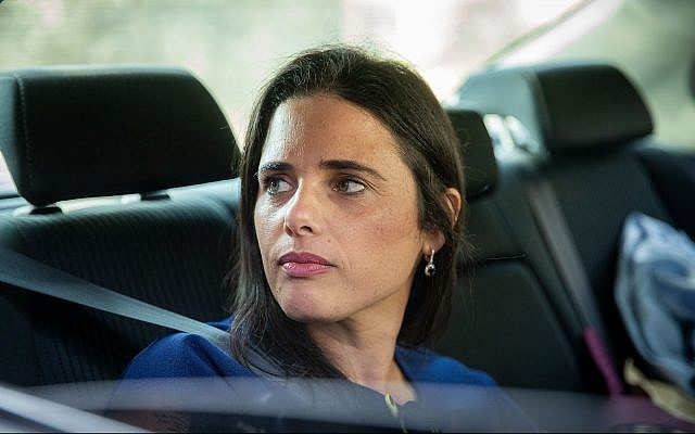 Yamina party leader Ayelet Shaked arrives for a meeting with Prime Minister Benjamin Netanyahu at his office in Jerusalem on September 18, 2019. (Yonatan Sindel/Flash90)