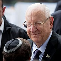 President Reuven Rivlin at a memorial ceremony for the late president Shimon Peres at Mount Herzl cemetery in Jerusalem on September 19, 2019. (Yonatan Sindel/Flash90)