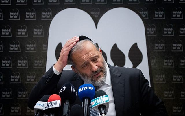 Shas party chairman and Minsiter of Interior Affairs Aryeh Deri leads a party meeting at the Knesset on September 22, 2019, (Yonatan Sindel/Flash90)