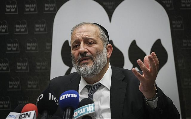 Interior Minister Aryeh Deri speaks at a Knesset faction meeting of his Shas party on September 22, 2019. (Yonatan Sindel/Flash90)