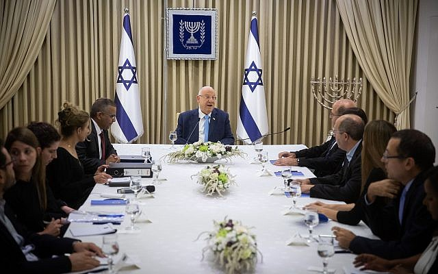 Members of the Blue and White party meet with President Reuven Rivlin at the President's Residence in Jerusalem on September 22, 2019 (Yonatan Sindel/Flash90)