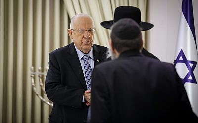 Members of the United Torah Judaism party meet with President Reuven Rivlin at the President's Residence in Jerusalem on September 23, 2019. (Hadas Parush/Flash90)