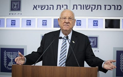 President Reuven Rivlin at the President's Residence in Jerusalem on September 23, 2019, after holding consultation meetings with political leaders to decide whom to task with trying to form a new government. (Hadas Parush/Flash90)