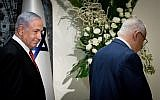 Prime Minister Benjamin Netanyahu and President Reuven Rivlin at the President's Residence in Jerusalem, September 25, 2019, when Rivlin tapped Netanyahu to form the next Israeli government. (Yonatan Sindel/Flash 90