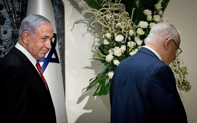Prime Minister Benjamin Netanyahu and President Reuven Rivlin at the President's Residence in Jerusalem, September 25, 2019, when Rivlin tapped Netanyahu to form the next Israeli government. (Yonatan Sindel/Flash 90
