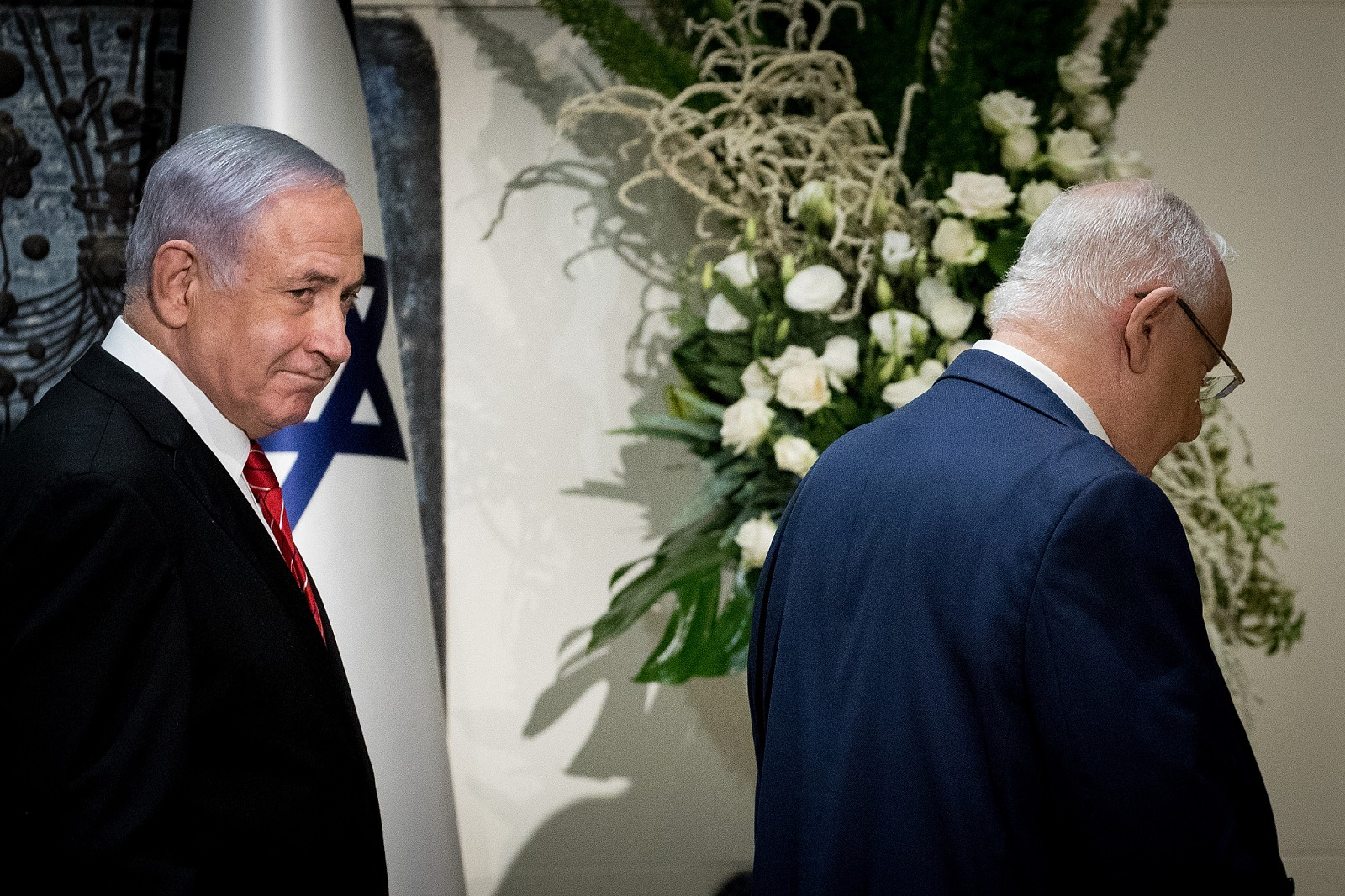 Prime Minister Benjamin Netanyahu and President Reuven Rivlin at the President's Residence in Jerusalem