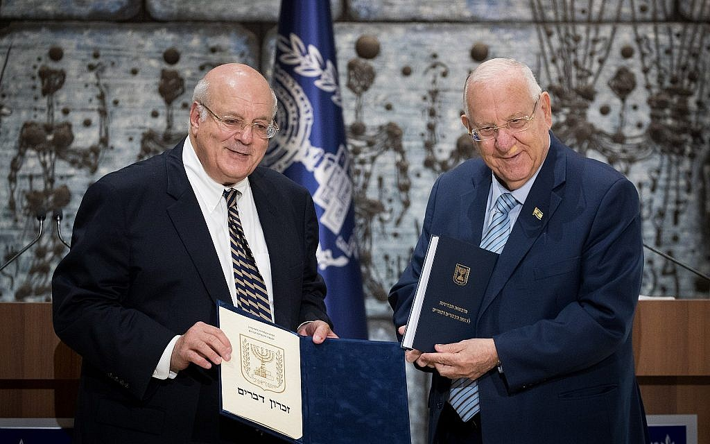 Central Election Committee chairman Hanan Meltzer presents the official results of the elections to the 22nd Knesset to Israeli President Reuven Rivlin, at the President's residence in Jerusalem, on September 25, 2019. (Yonatan Sindel/Flash90)