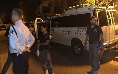 The scene where a man was suspected of stabbing his father to death and seriously injuring his mother in Gan Yavne, September 26, 2019. (Israel Police)