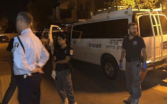 The scene where a man was suspected of stabbing his father to death and seriously injuring his mother in Gan Yaven, September 26, 2019. (Israel Police)