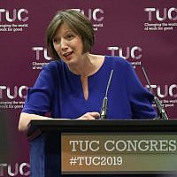 Frances O'Grady, General Secretary of the Trades Union Congress, during a press conference at the Grand Hotel in Brighton on day one of the 2019 TUC Congress. (Andrew Matthews/PA Images via Getty Images via JTA)