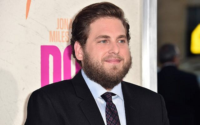 Jonah Hill, attending the premiere of Warner Bros. Pictures' 'War Dogs,' at TCL Chinese Theatre in Hollywood, California, August 15, 2016. (Alberto E. Rodriguez/Getty Images via JTA)