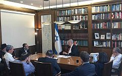 Prime Minister Benjamin Netanyahu meets with right-wing and Haredi faction leaders at his office in Jerusalem on September 18, 2019. (Courtesy Likud)