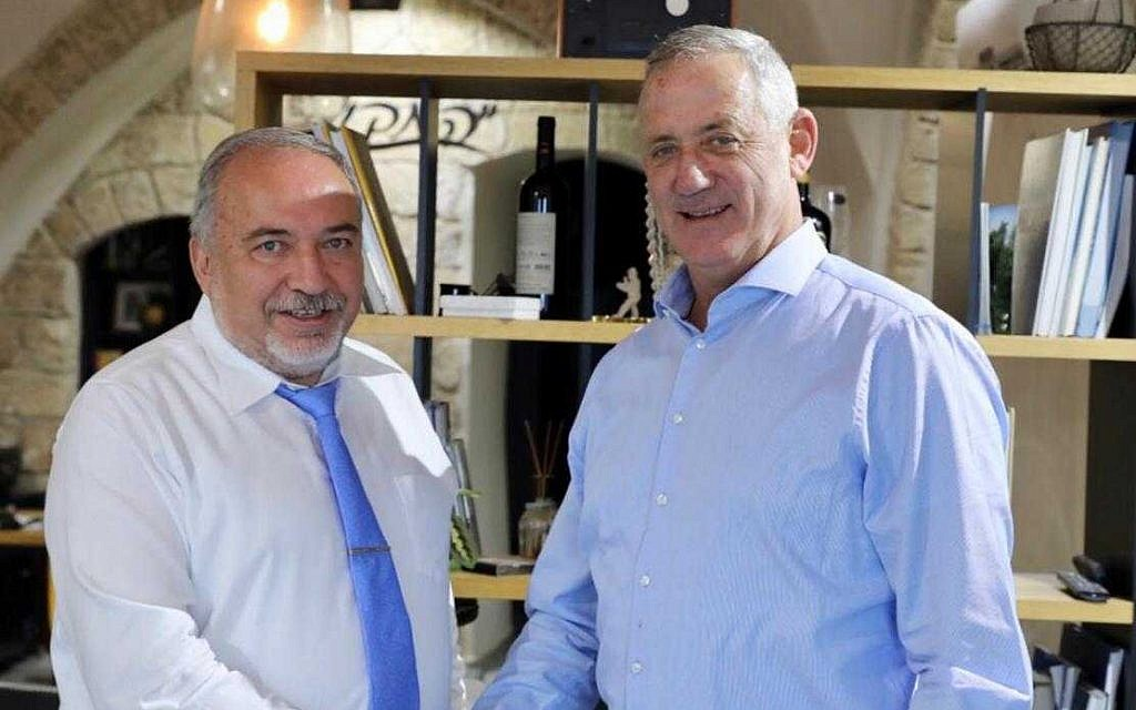 Blue and White party leader Benny Gantz (right) meets with Yisrael Beytenu party head Avigdor Liberman on September 23, 2019. (Elad Malka)
