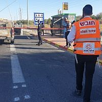 The scene of a stabbing at the Maccabim Junction along Route 443 on September 25, 2019. (United Hatzalah)