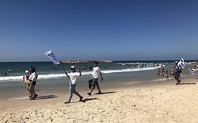 Blue and White activists campaign on the beach in Tel Aviv (Jessica Steinberg/Times of Israel)