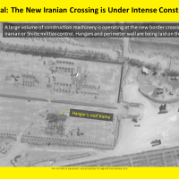 Satellite image showing ongoing construction at an alleged Iranian-controlled border crossing in Syria's Boukamal region, near the Iraqi border, on September 21, 2019. (ImageSat International)