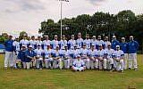 Israel's national baseball team at the European Championships in Germany. (Israel Association of Baseball Facebook page via JTA)