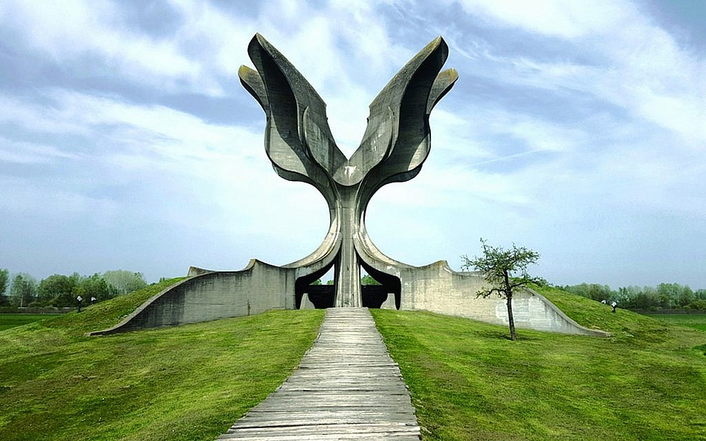 The present-day Jasenovac memorial at the site of the death camp. (Credit: Jasenovac: Auschwitz of the Balkans)