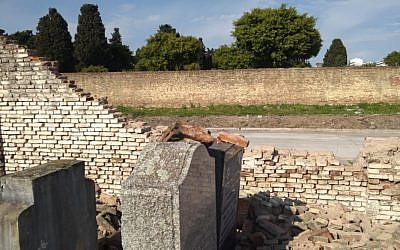 This photograph from the Argentinian Israelite Mutual Association shows damage to a Jewish cemetery in La Tablada, Argentina, which was vandalized on September 28, 2019. (AMIA)