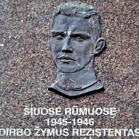 This memorial plaque to Nazi collaborator Jonas Noreika was removed from the Library of Academy of science in Vilnius in July 2019, but demonstrators reinstalled a new one in September. (Alma Pater/Wikimedia Commons via JTA)