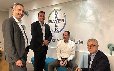left to right: Dr. Karl Ziegelbauer, Bayers's senior vice president of Open Innovation & Digital Technologies, Hugo Hagen, Dr. Berthold Hinzen and Dr. Joerg Moeller (Courtesy)