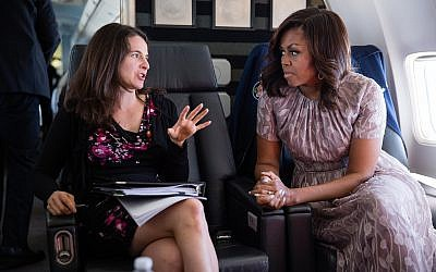 Former head speechwriter for Michelle Obama and author of the new book, 'Here All Along,' Sarah Hurwitz, left pictured with the former first lady. (Chuck Kennedy/White House)