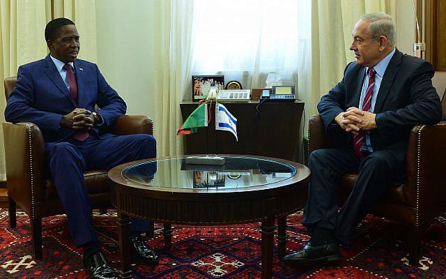 Zambia's President Edgar Lungu, left, meets with Prime Minister Benjamin Netanyahu in Jerusalem on February 28, 2017. (Kobi Gideon/GPO)