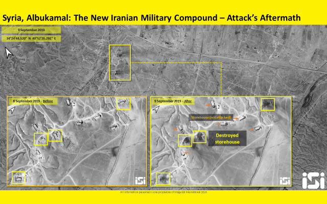 Satellite image showing the aftermath of an overnight airstrike on an alleged Iranian military base in Syria's Albu Kamal region, near the Iraqi border, on September 9, 2019. (ImageSat International)
