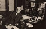 Sigmund Freud in his study at Berggasse 19 in Vienna, 1934. (Freud Museum London)