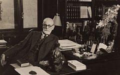 Sigmund Freud in his study at Berggasse 19 in Vienna, 1934. (Freud Museum London)