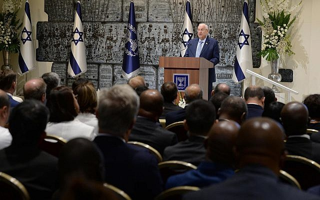 President Reuven Rivlin holds a reception for diplomatic corps in Jerusalem on September 25, 2019 (Mark Neiman/GPO)