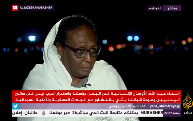 Newly appointed Sudanese Foreign Minister Asma Abdullah speaking to Al Jazeera on September 8, 2019. (Screenshot: Al Jazeera)