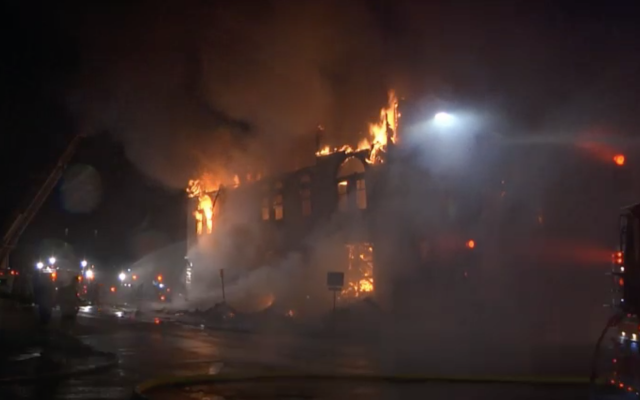Adas Israel Congregation ablaze in Minnesota, September 9, 2019. (Screenshot from KBJR Channel 6 via JTA)