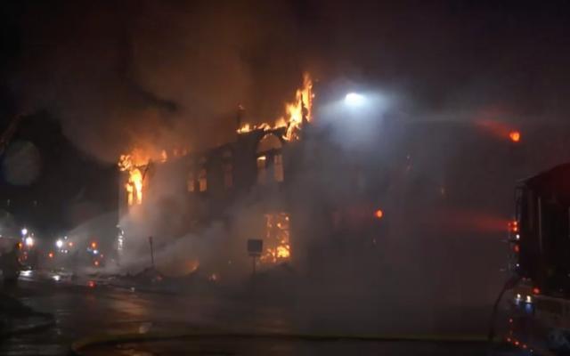 Adas Israel Congregation ablaze, September 9, 2019. (Screenshot from KBJR Channel 6)